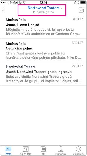Outlook mobilo sarunu skats ar iezīmētu galvenes