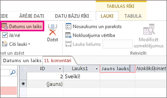 Lauka Datums/laiks pievienošana datu lapas skatā