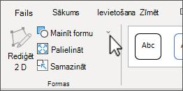 Poga mainīt formas, SmartArt rīki cilnes Formatēšana