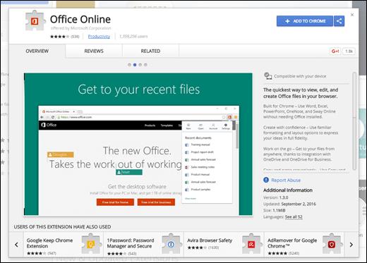 Pievienojiet Office Online paplašinājumu Chrome tīmekļa veikalā