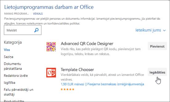Ekrānuzņēmums, kurā Office pievienojumprogrammas lapā, kur varat atlasīt vai meklēt pievienojumprogrammas programmai Word.