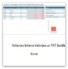Atlasiet šo opciju, lai iegūtu ikdienas pārtikas kaloriju un tauku žurnāla veidni.
