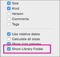 Finder View opcijās parādiet bibliotēkas failu iestatījumus.