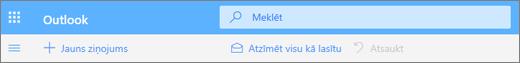 Ekrānuzņēmums, kurā redzams Outlook.com meklēšanas vaicājuma lodziņš.