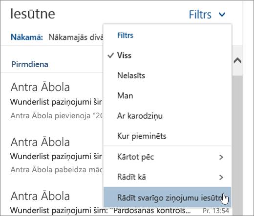 Ekrānuzņēmums ar filtra izvēlni, kurā atlasīts vienums Rādīt svarīgo ziņojumu iesūtni