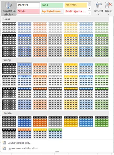 Excel tabulas stilu galerija