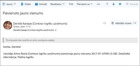 E-pasts, kas nosūtīts, kad vienums ir mainīts