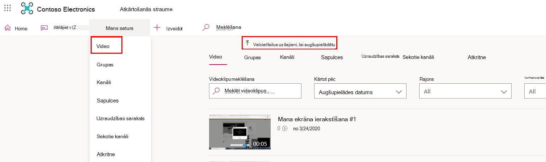 Video sadaļa straumē