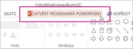 Atvēršanas PowerPoint darbvirsmas versijā