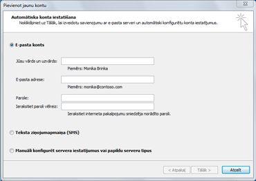 Dialoglodziņš Jauna konta pievienošana ar atlasīto e-pasta kontu