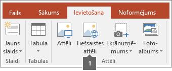 Ekrānuzņēmums, kurā parādīts, kā pievienot tiešsaistes attēlus Office lietojumprogrammās.