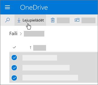 Ekrānuzņēmums ar OneDrive failu atlasīšanu un lejupielādi.