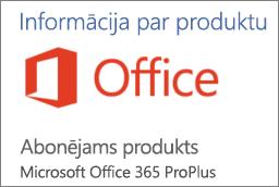 Ekrānuzņēmums ar daļu Office lietojumprogrammas sadaļas Informācija par produktu. Tiek rādīts, ka lietojumprogramma ir Office365 ProPlus abonementa produkts.