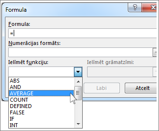 Lodziņš Formula ar funkciju izvēlni