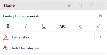 Teksta formatēšanas opcijas programmā PowerPoint Mobile darbam ar Windows tālruņos.