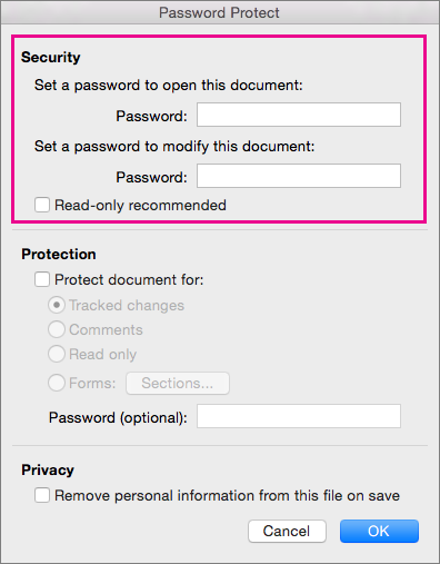 On the Password Protect dialog box, Security is highlighted