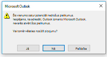 Brīdinājuma ziņojums par potenciāli bīstamu pielikumu sūtīšanu programmā Outlook