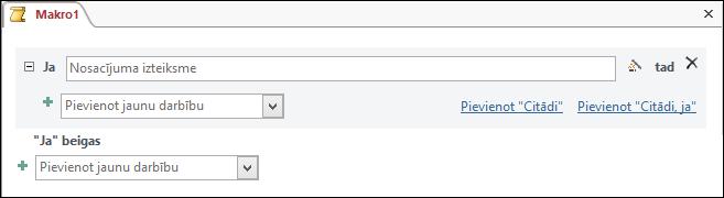 IfThenElse makro bloks programmā Access