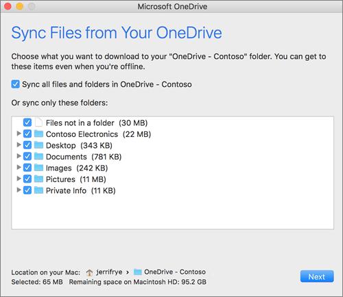 Ekrānuzņēmums ar OneDrive iestatīšanas izvēlni, lai atlasītu sinhronizējamās mapes vai failus.