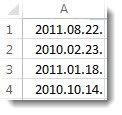 Nesakārtoti datumi darblapā