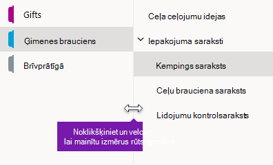 Navigācijas rūšu izmēru maiņa programmā OneNote darbam ar Windows 10
