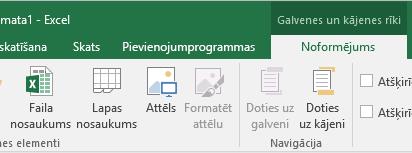 Excel noformējuma rīkjoslu sadalījuma