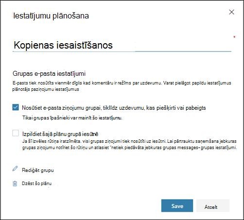 """Ekrāna tveršana: tiek rādīts iestatījums """"Nosūtīt e-pastu plāna grupai..."""" plāna iestatījumu sadaļā"""