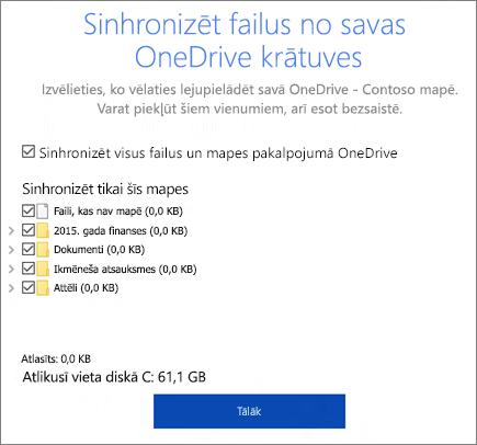 Dialoga Sinhronizēt failus no savas OneDrive krātuves ekrānuzņēmums