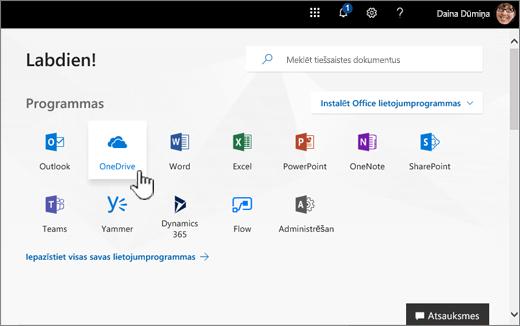 Office 365 sākuma ekrānā, izmantojot OneDrive atlasiet