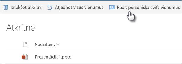 OneDrive atkritnes skats, kurā redzama opcija Rādīt personiskās velves vienumus