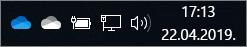 OneDrive SyncClient ar zila mākoņa un balta mākoņa ikonām