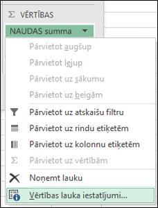 Excel vērtību lauku iestatījumu dialogs