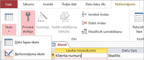 Tabulas noformētāja maiņa starp datu lapas skatu un noformējuma skatu