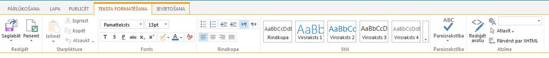 Cilnes Teksta formatēšana, kas satur vairākas pogas teksta formatēšanai, ekrānuzņēmums