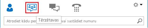Lync galvenā loga skata ikonu sadaļas ekrānuzņēmums ar atlasītu tērzētavu