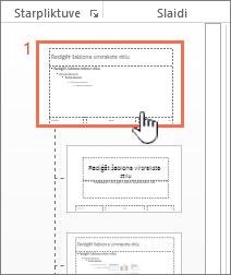 Sīktēlu panelī atlasītu šablona slaidu