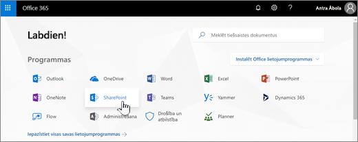 Office 365 sākumlapu, kurā iezīmēta im ikona un zvanu ikona