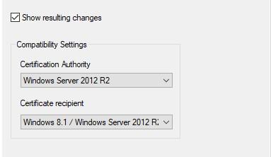 Sertifikāta veidne, parādot saderības līmeņa saderību cilnē iestatiet Windows Server 2012 R2 un Windows 8.1.