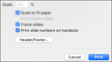 Dialogs Drukāt, kurā redzama opcija Drukāt slaidu numurus izdales materiālos.