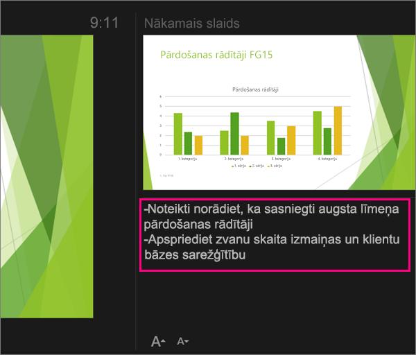 Parāda piezīmes prezentētāja skatā programmā PowerPoint 2016 for Mac