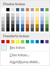 Lapas krāsu opcijas uz lentes
