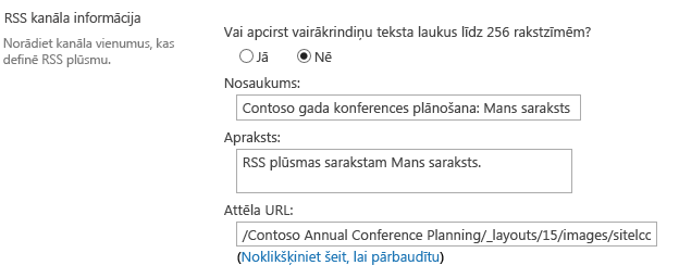 RSS kanāla informācija