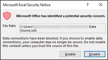 Microsoft Excel drošības brīdinājums — norāda, ka programma Excel ir identificējusi iespējamu drošības problēmu. Izvēlieties iespējot, ja uzticaties avota faila atrašanās vietai, atspējojiet to.