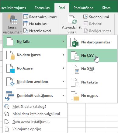 Cilnē Dati atlasiet jaunu vaicājumu, atlasiet no faila un pēc tam atlasiet no CSV