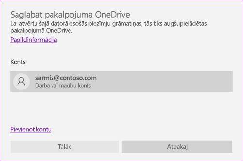 Saglabāšanas OneDrive krātuvē uzvednes programmā OneNote ekrānuzņēmums