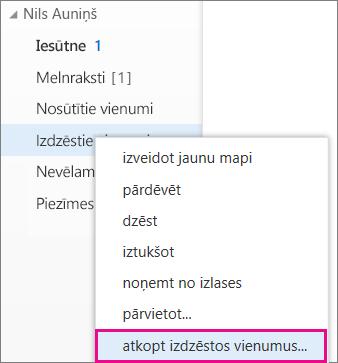 Izvēlnes ceļš piekļuvei Outlook Web App dialoglodziņam Izdzēsto vienumu atkopšana