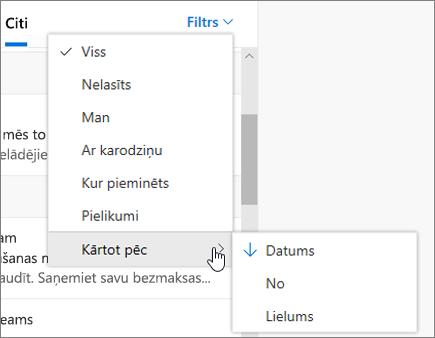 E-pasta filtrēšana programmā Outlook tīmeklī