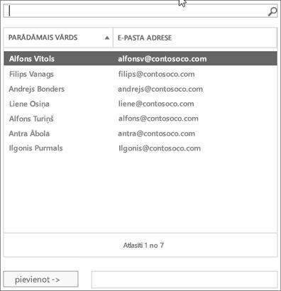 Ekrānuzņēmums: Ierakstiet meklēšanas vai izvēlēties lietotāja no saraksta