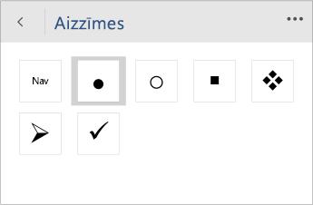 Ekrānuzņēmums ar izvēlni Aizzīmes, lai izvēlētos aizzīmju stilu programmā Word Mobile.