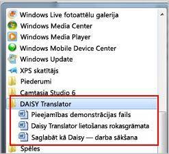 Izvēlne Sākt, kurā redzami DAISY faili pēc instalēšanas